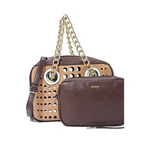 Arcad Gold Tone Hardware Shoulder Bag With Pouch Brown 30542
