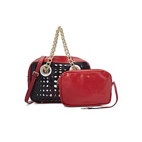Arcad Gold Tone Hardware Shoulder Bag With Pouch Red 30542