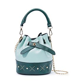 Arcad Stitch Detailed Bucket Bag With Pouch Green 33511