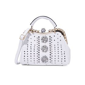 Arcad Stone Embellished Shoulder Bag White 33298