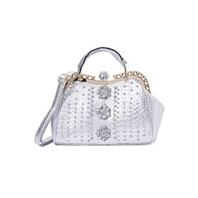 Arcad Stone Embellished Shoulder Bag Silver 33298