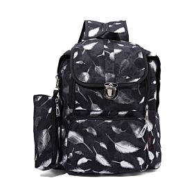 Arcad Zipper Closure Backpack with Pencil Case Black 33082