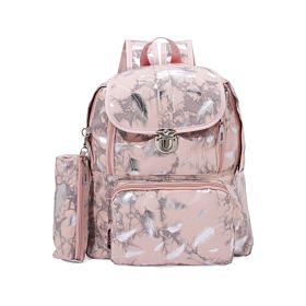 Arcad Zipper Closure Backpack with Pencil Case Pink 33082