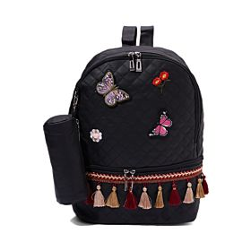 Arcad Zipper Closure Backpack With Pencil Pouch Black 33068