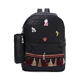 Arcad Zipper Closure Backpack With Pencil Pouch Black 33069