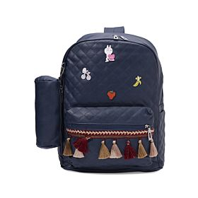Arcad Zipper Closure Backpack With Pencil Pouch Blue 33069