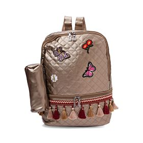 Arcad Zipper Closure Backpack With Pencil Pouch Brown 33068