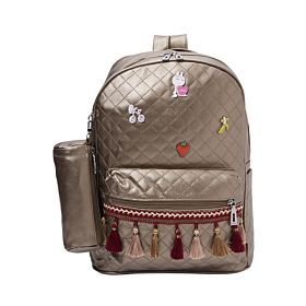 Arcad Zipper Closure Backpack With Pencil Pouch Brown 33069