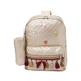 Arcad Zipper Closure Backpack With Pencil Pouch Gold 33069