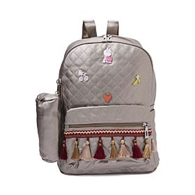Arcad Zipper Closure Backpack With Pencil Pouch Grey 33069