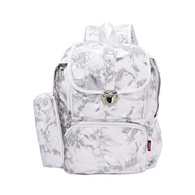 Arcad Zipper Closure Backpack With Pencil Pouch White 33082