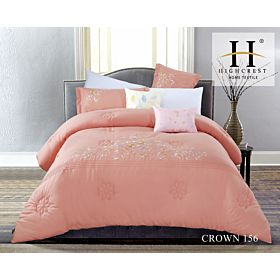 High Crest Cotton Embroidered Comforter 8PCS set CROWN-Orange
