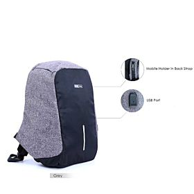 Parajohn PJBP6607 Backpack,with mobilecharger  Grey,Navy & Black