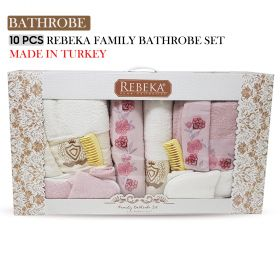 10 PCS 3D FAMILY BATHROBE SET Pink lemonade| Made In Turkey