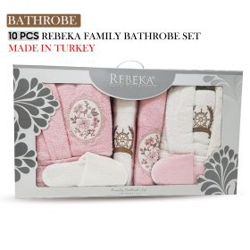 10 PCS 3D FAMILY BATHROBE SET PINK FLOWER DESIGN| Made In Turkey