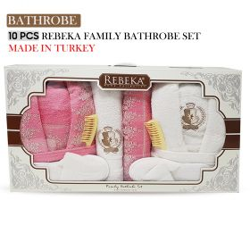 10 PCS 3D FAMILY BATHROBE SET Pink Rose| Made In Turkey