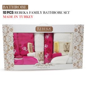 10 PCS 3D FAMILY BATHROBE SET ROSE| Made In Turkey