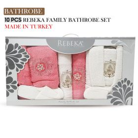 10 PCS 3D FAMILY BATHROBE SET Light Rose Flower Design| Made In Turkey