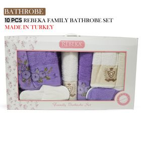 10 PCS 3D FAMILY BATHROBE SET Violet| Made In Turkey