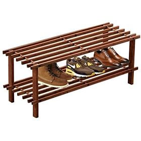 2-tier Blonde Wood Storage Shoe Rack