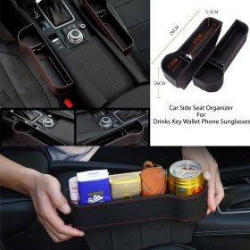 Car Side Seat Organizer For Drinks Key Wallet Phone Sunglasses, Car Seat Gap Filler Organizer?PU Leather Seat Console Organizer Pocket Interior Car Accessories
