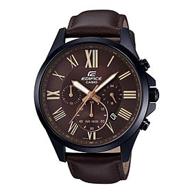 Casio Men's Black Dial Leather Band Watch - EFV-500L-1AVUDF brown