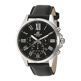 Casio Men's Black Dial Leather Band Watch - EFV-500L-1AVUDF