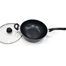 Healthy Non-Stick Coating Wok With Glass Lid 30 cm