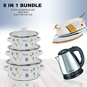 6 PCs Casserole Set With Glass Cover Lid (13cm,14cm,16cm) + Iron Box + Electric kettle