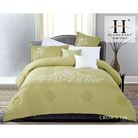 High Crest Cotton Embroidered Comforter 8PCS set CROWN-Green