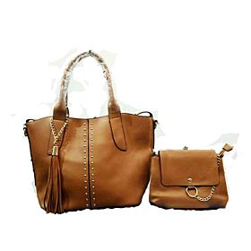 2 in 1 Stylish Bag For Women,Brown - Tote Bags