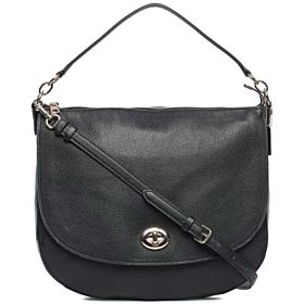 Coach Polished Pebble Turnlock Hobo Bag for Women - Leather, Black