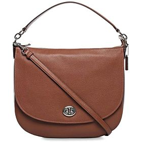 Coach Polished Pebble Turnlock Hobo Bag for Women - Leather, Saddle