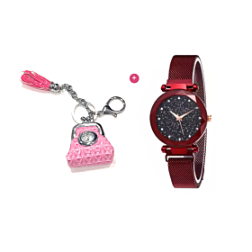 Women's Handbags Key-Chain Watch and Stylish Magnetic Buckle Casual watch
