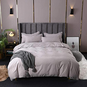 DEALS FOR LESS - King Size, Duvet Cover, Bedding Set of 6 Pieces, Plain Grey Color, 1 Duvet cover + 1 Fitted bedsheet + 4 pillow covers.