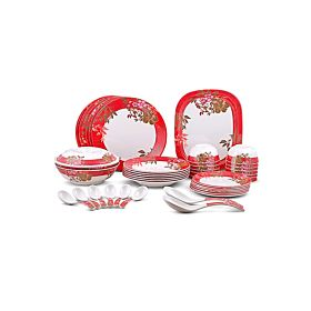 Dinewell 42-Piece Dinner Set Red and White