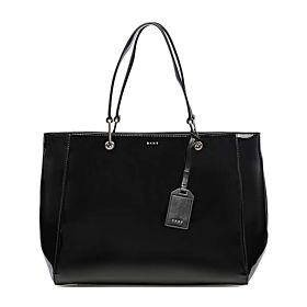 DKNY Patent Tote Bag for Women - Leather, Black