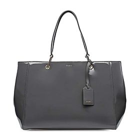DKNY Patent Tote Bag for Women - Leather, Dark Charcoal