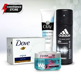 Convenient Items. Adidas Dynamic Pulse Deodorant Body Spray, GATSBY Hair Gel, Dove Beauty Cream Bar , Olay Natural White Cleansing Face Wash
