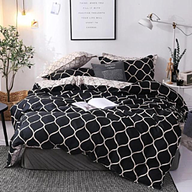 DEALS FOR LESS - King Size, Duvet Cover, Bedding Set of 6 Pieces, Black Geometric Design, 1 Duvet cover + 1 Fitted bedsheet + 4 pillow covers.