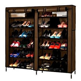 Double Door Shoe Rack Organizer - Brown