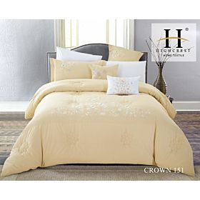 High Crest Cotton Embroidered Comforter 8PCS set CROWN-Yellow