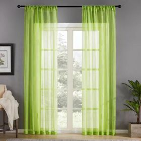 DEALS FOR LESS - Window Sheer Set of 2 Pieces, Green Color