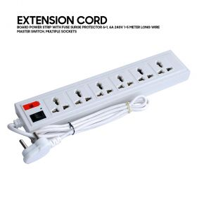 Extension cord, Board Power strip with fuse surge protector 6+1, 6A 240V 1-5 meter long wire, master switch, multiple sockets