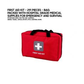 First Aid Kit 291 Pieces – Bag. Packed with Hospital Grade Medical  Supplies for Emergency and Survival  situations. Ideal for The Car, Camping,  Hiking, Travel, Office, Sports, Pets, Hunting, Home