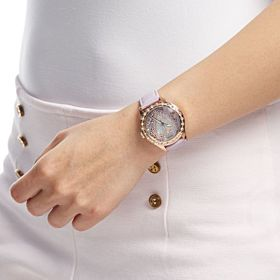 Guess Women's Leather Watch Pink - W0909L3