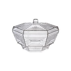 Hexagonal Candy Bowl With Lid Clear 19 centimeter