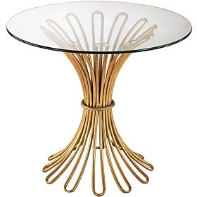 "Dimond Home 1114-204 Flaired Rope Side Table, 24"" x 24"" x 21"", Gold Leaf"