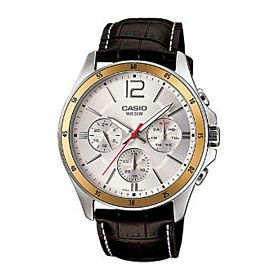 Casio Enticer for Men - Analog Leather Band Watch - MTP-1374L -7AV
