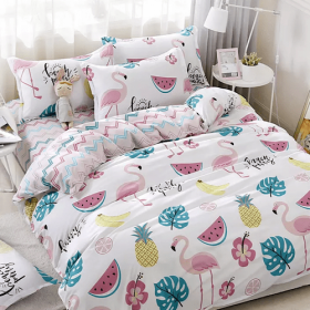 DEALS FOR LESS - Single Size, Duvet Cover, Bed Sheet Set of 4 Pieces, Watermelon Design  , 1 Duvet cover + 1 Fitted bedsheet + 2 pillow covers